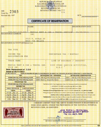 Certificate Of Registration Bir R Jpg Robert G